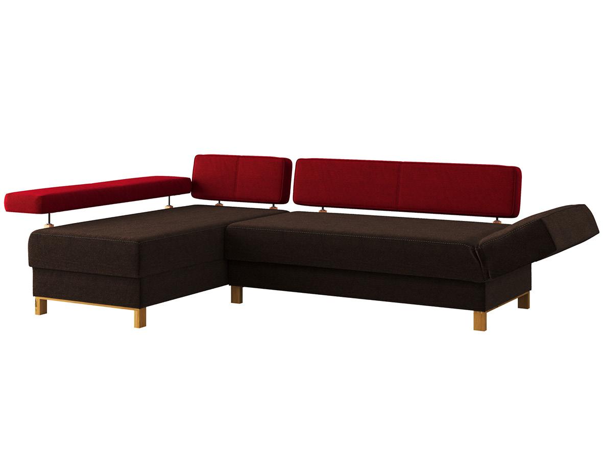 """Sofa """"Stella"""" mit Stoff """"Ankogel"""": Sofafarbe Rosenholz, Farbe der Rückenlehnen Herz, Anbauelement links,  Holzfüße in Wildeiche"""