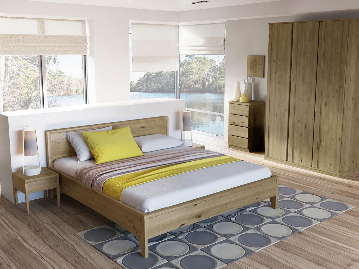 """Schlafzimmer mit Wildeichenholzbett """"Tanja"""" 180 x 200 cm"""