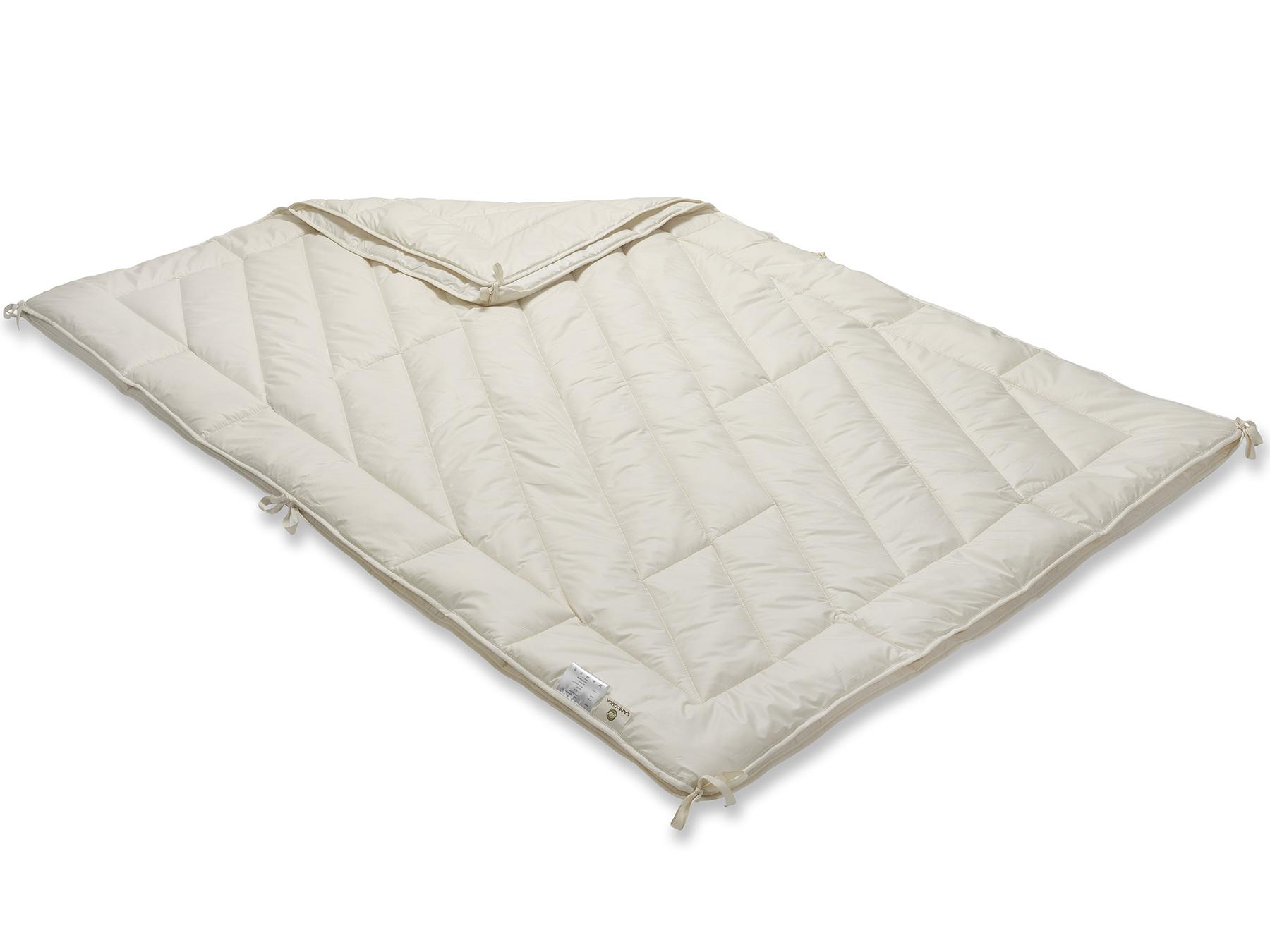 Mit praktischen Bändern an den Rändern werden die beiden Decken zusammengeknüpft.