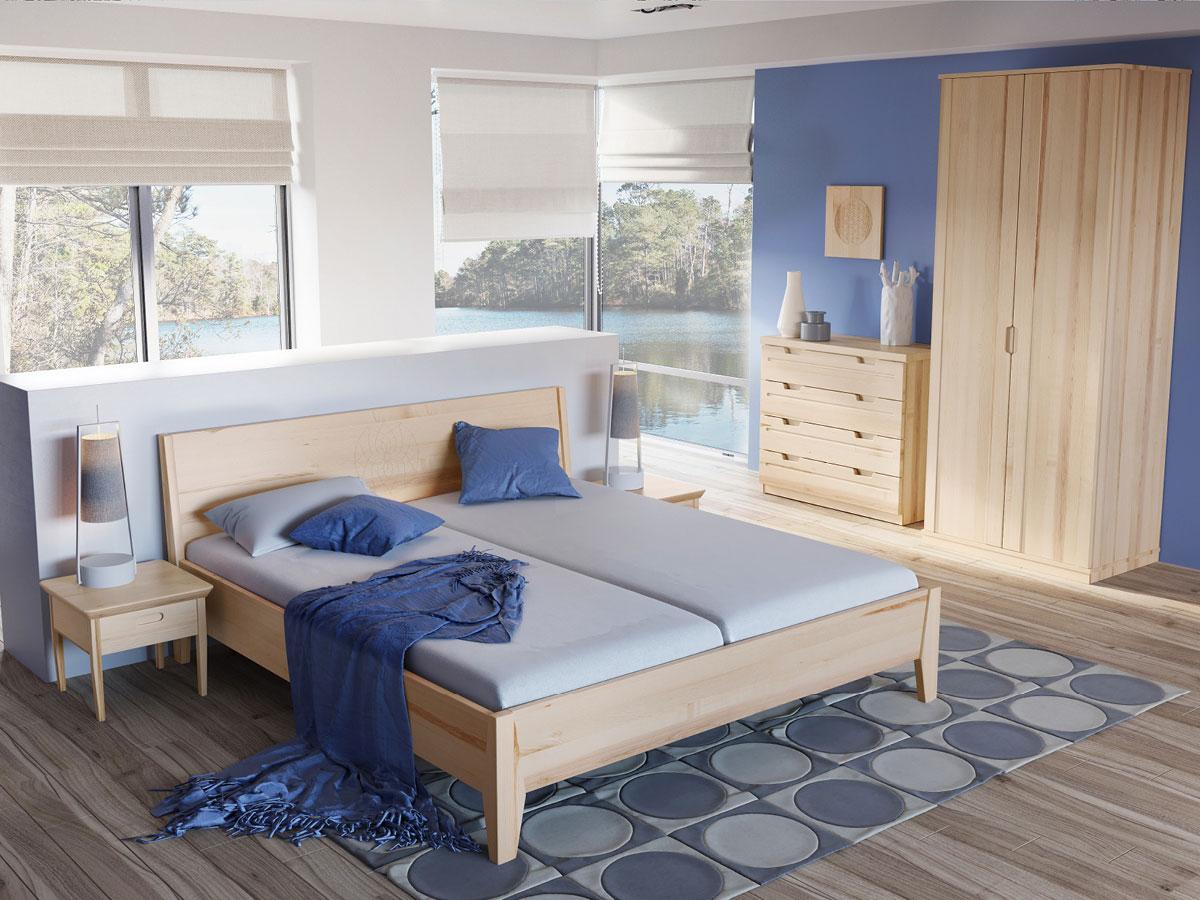 """Schlafzimmer mit Eschenholzbett """"Tobias"""" 180 x 200 cm"""