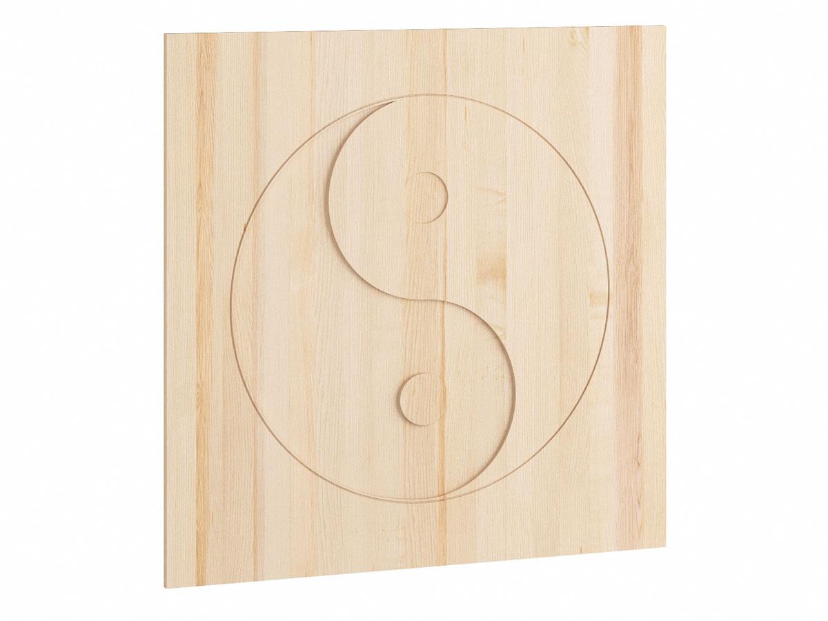 "Holzbild mit Fräsung ""Yin Yang"" 95 x 95 cm"