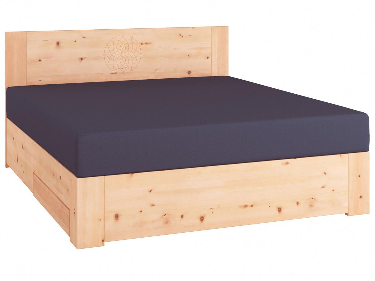 "Zirbenholzbett ""Alois"" Boxspring mit Gravur, einer Unterbettkommode (91 cm) links"