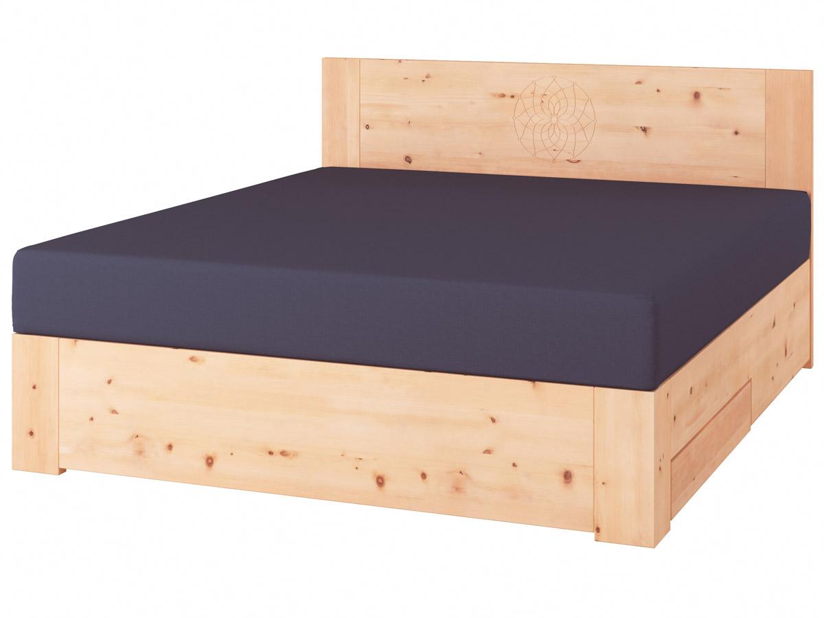 """Zirbenholzbett """"Alois"""" Boxspring mit Gravur, einer Unterbettkommode (91 cm) rechts"""