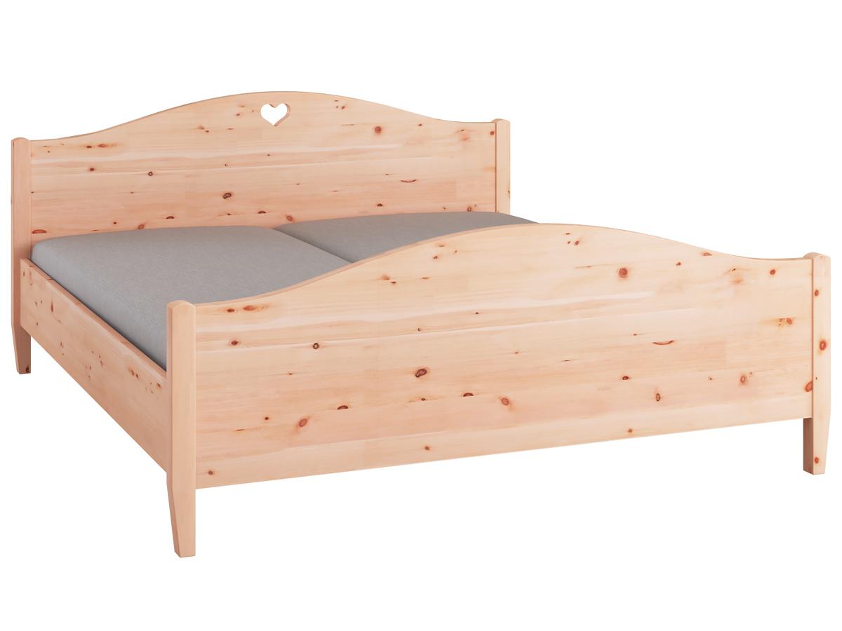 """Zirbenholzbett """"Hermine"""" 180 x 200 cm - mit erhöhtem runden Fußteil"""