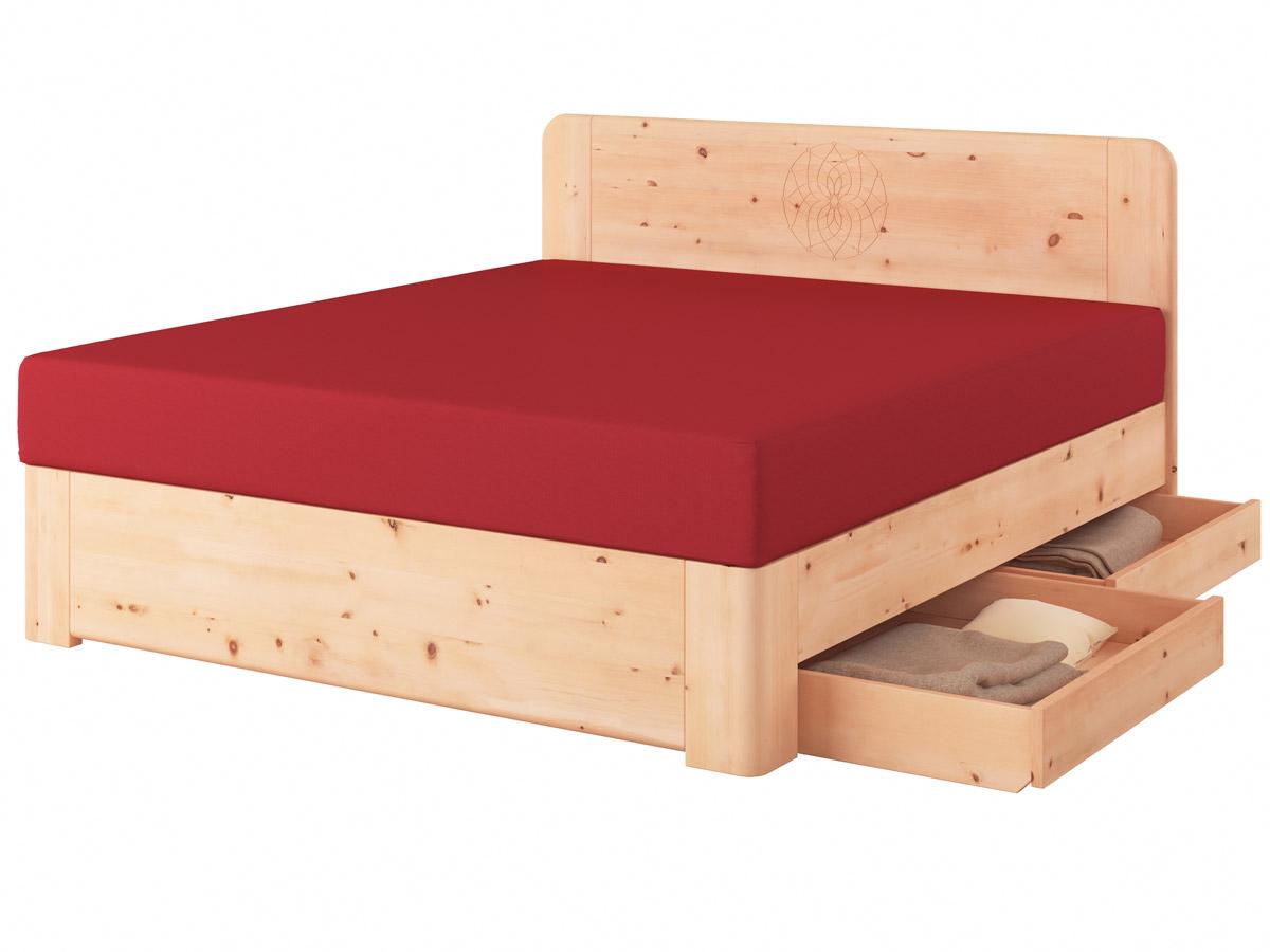 "Zirbenholzbett ""Niklas"" Boxspring mit Gravur, zwei Unterbettkommoden (2 x 91 cm) rechts"