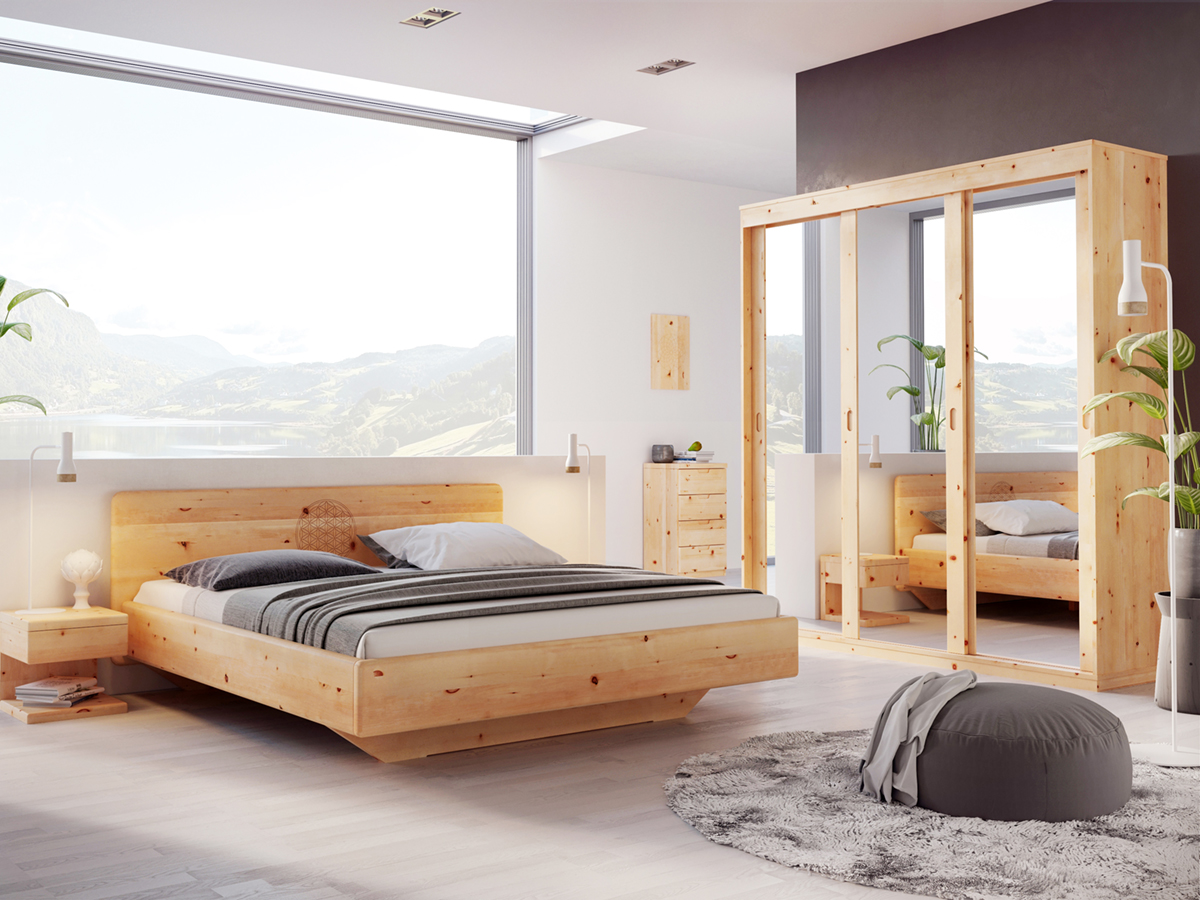 "Zirbenschlafzimmer mit Zirbenschrank ""Angelika"" 3-türig, Höhe 235 cm"