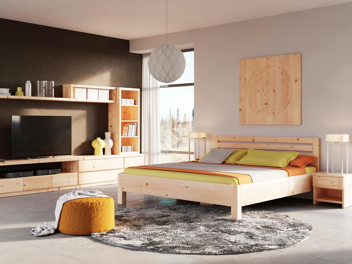 """Schlafzimmer mit Nachtkästchen aus Zirbe """"Susanne"""" in Standardhöhe"""