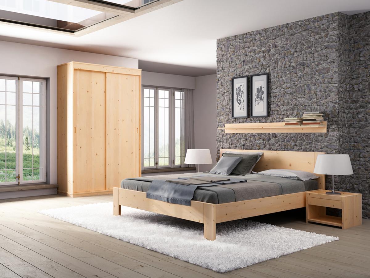 """Zirbenschlafzimmer mit Zirbenschrank """"Christopher"""" 2-türig, Höhe 235 cm"""