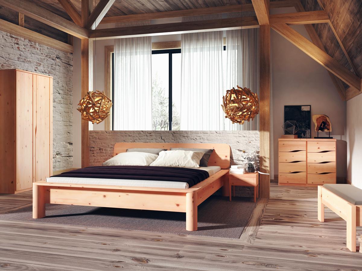Zirbenschlafzimmer mit Zirbenbett und Nachtkästchen Zirbe