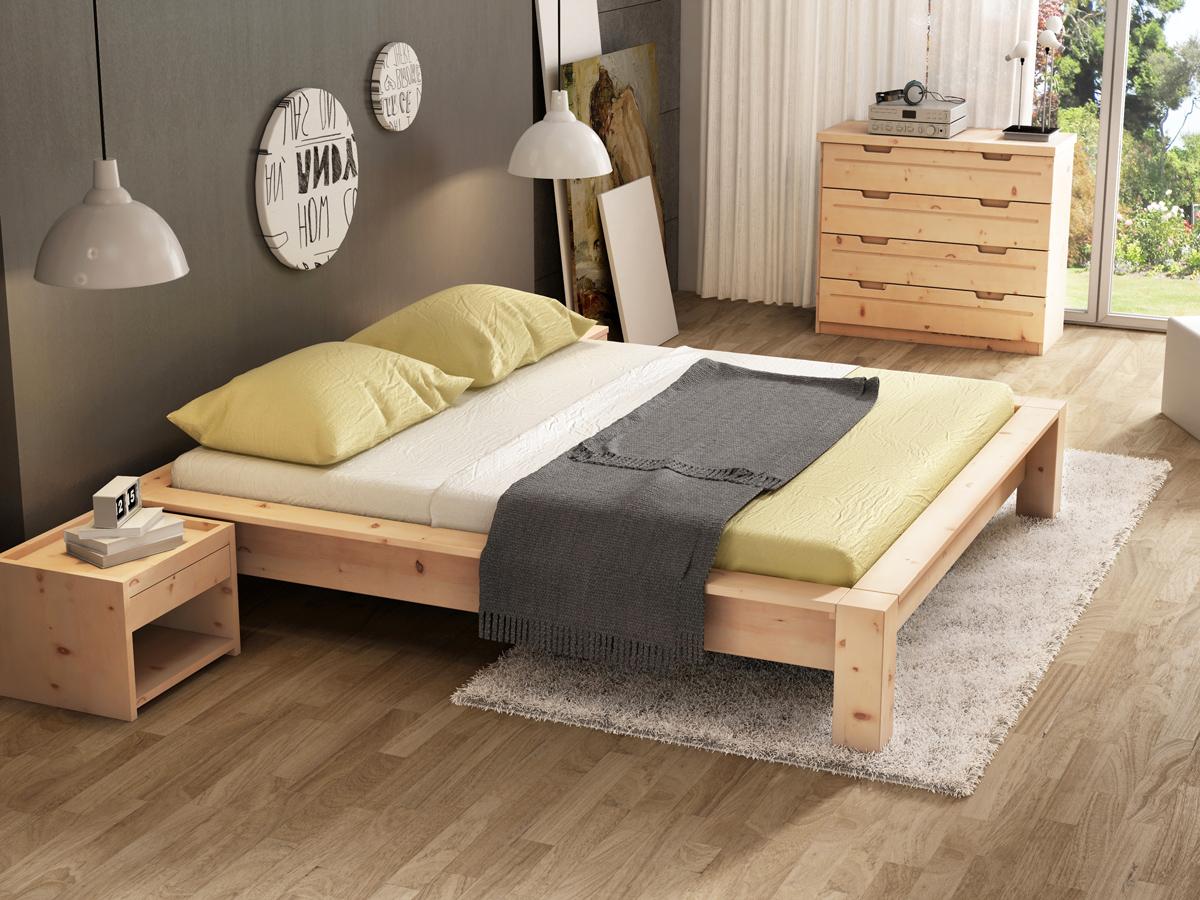 """Zirbenschlafzimmer mit Nachkästchen """"Johann"""" in Standardhöhe"""