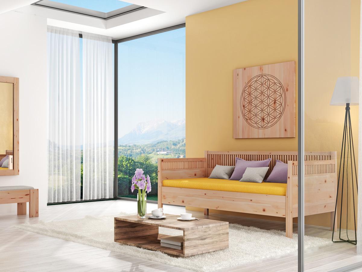"""Zimmer mit Zirben-Schlafsofa """"Julia"""" 90 x 200 cm"""