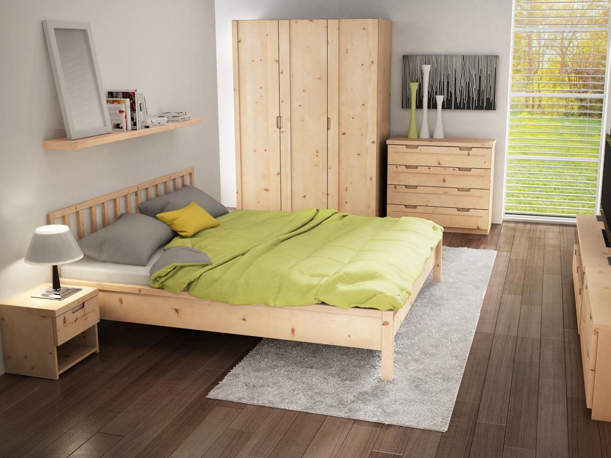 """Zirbenschlafzimmer mit Zirbenschrank """"Lukas"""" 3-türig, Höhe 235 cm"""