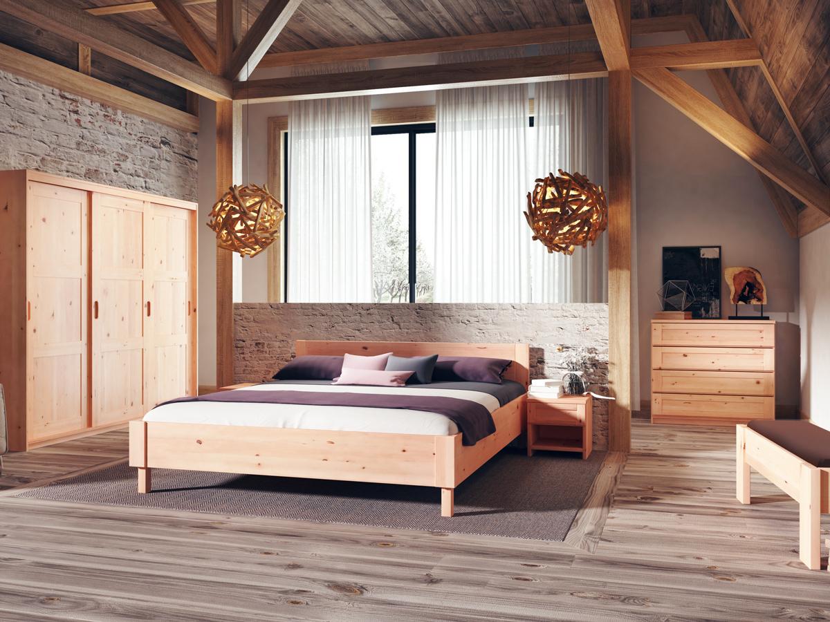 """Zirbenbett """"Max"""" 180 x 200 cm - mit einem Nachttisch rechts"""