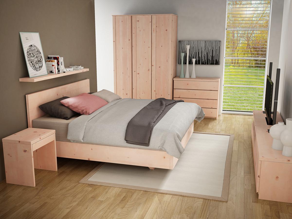 """Zirbenschlafzimmer mit Kommode """"Patrizia"""" 100 cm"""