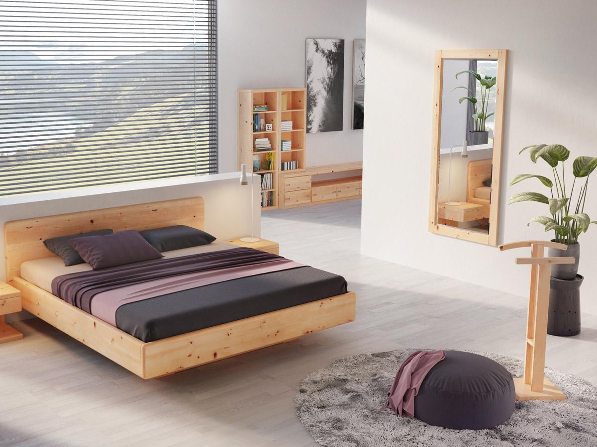 """Zirbenschlafzimmer mit Wandspiegel aus Zirbe """"Sabrina"""" 80 x 180 cm"""