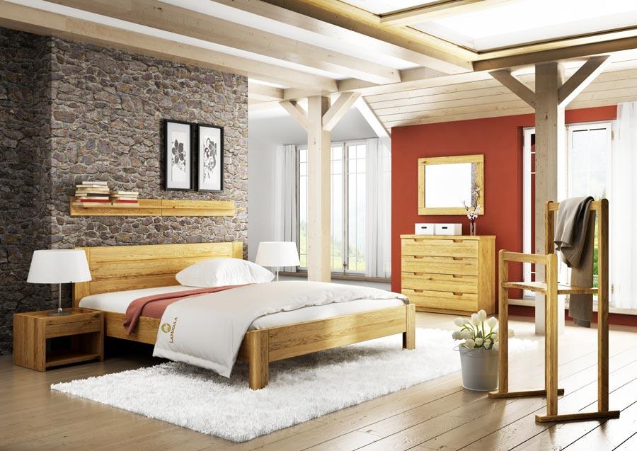 Schlafzimmer in Eiche mit Kommode, Nachtkästchen und Regal