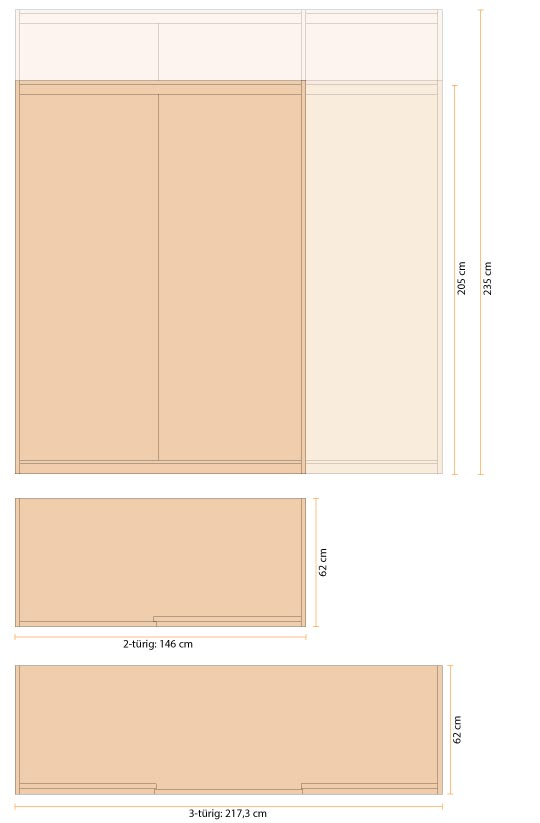 Zirbenschrank Größen - Skizze